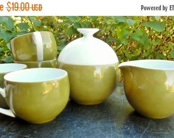 ON SALE Vintage, Couturee, Fine Translucent China, R-4401 Jardin, Made in Japan, Creamer, Sugar and 4 Cups, Avocado Green