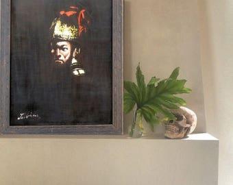 ON SALE 1960's, Vintage, Conquistador Velvet Painting in Original Carved Wood Frame, Painting on Velvet, Velvet Painting, Spanish Revival