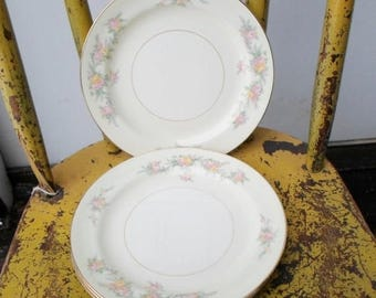 """ON SALE Vintage Set of Four 7"""" Dessert/Pie Plate, 1950's Homer Laughlin """"Countess"""" Pattern Eggshell Nautilus  Cottage Chic Shabby"""