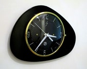 SALE - French 1950-60s Atomic Age SMI BLACK Formica Wall Clock - Cool Triangle Shape - Formica Wall Clock - Great Working Condition