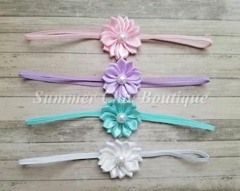 Baby Headband Set of 4, Baby headband, Infant Headband, Toddler Headband, Petite Headband, Small Headband, Summer Headband