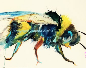 Wishy Washy Bumble Bee Print of Morena Artina Original Ink Painting on Watercolour Paper