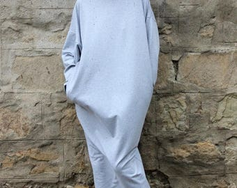 SALE ON 20 % OFF Grey dress/ Long dress/ Long sleeves dress/ Casual dress/ Plus size dress