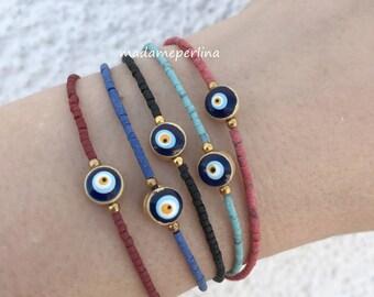 8   PCS   bracelet lot wholesale bracelets afghan beads beaded evil eye charm gold plated evileye simple thin bulk jewelry lot3