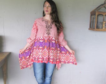 Bohemian tunic upcycled clothing Lagenlook Romantic cotton shirt recycled L X Large Top Hippie Gypsy blouse Fun clothes LillieNoraDryGoods