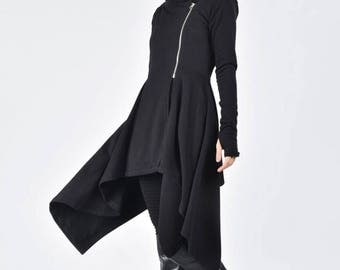 NEW Lined Asymmetric Extravagant Peplum Black Hooded Coat / Fitted Sexy Cotton Jacket / Long Sleeves Thumb Holes A08631