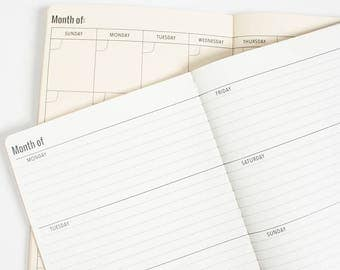 Quarter Monthly with Weekly Blank Calendar Midori Travelers notebook Inserts Midori[N044]