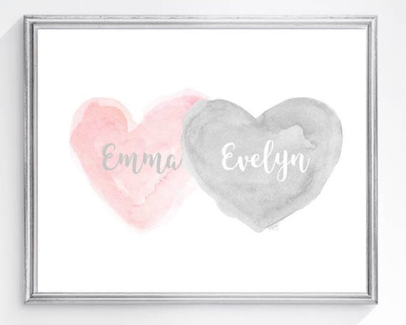 Petal Pink and Gray Print, for Sisters, 8x10 Personalized Hearts