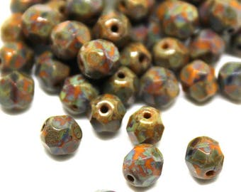6 mm Brown and Rust Picasso Faceted Round Beads
