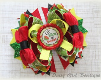 Watermelon OTT Hair Bow-Lil' Slice of Sweet Hair Bow-Summer Stacked Bow-Seed Spittin' Hair Bow-M2M Twisted Boutique Hair Bow-Girls Hair..