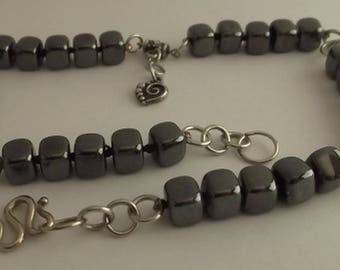 Hematite colored glass beads necklace with heart pendant silver