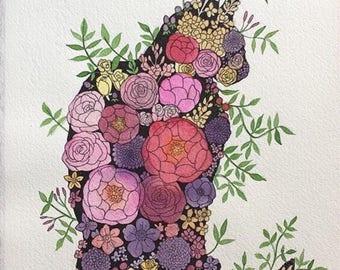 "Print - ""Floral Kitty"""