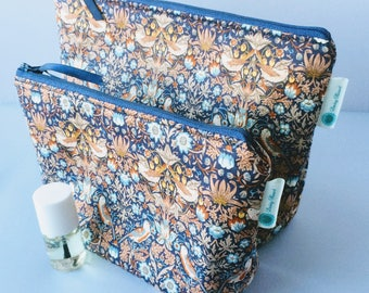 Matching pair of Liberty of London 'Strawberry Thief' Tana Lawn wash and make up bags, toiletry pouch and cosmetic purse - made in Cornwall