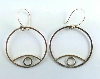 Large sterling silver eye hoops