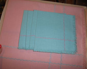 Pink Tablecloth w/4 turquoise napkins NEW in Box
