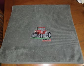 Embroidered Terry Bath Towel - Case IH Tractor
