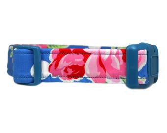 "Polka Dot Floral Dog Collar 1"" or 1.5"" Blue Dog Collar Buckle or Martingale Style Collar"
