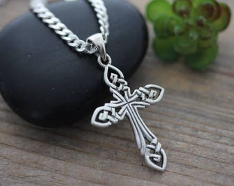 Small Celtic Cross necklace, sterling silver men cross necklace, Choose Chain, mens knot Cut Cross . Irish KNOTTED Cross.