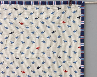 Sharks & Waves Whole Cloth Baby Quilt