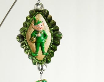 Lucky leprechaun tin ornament / tin art / vintage tin / home decor / recycled tin / vintage ornament / christmas ornament / assemblage art