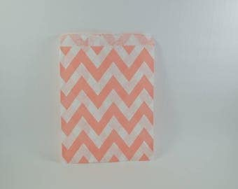 8 salmon zigzag chevron patterned paper bags