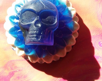 Lavender scent hemp oil and oatmeal layered soap with skull