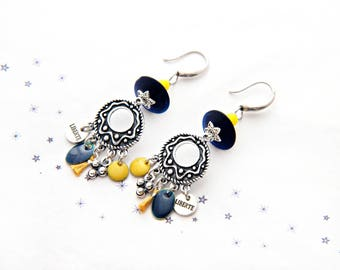 Earrings Bohemian Gypsy sequined enamel glass bead spun Navy mustard