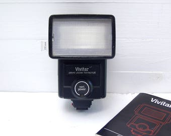 Vivitar 285HV Zoom Thyristor Flash. Vari Power Sensor Module. Zoom/Bounce Flash Head.  With 28mm Wide Angle Attachment.