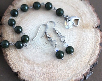 Nephrite Jade bracelet, 8 inch, jade earrings, stainless steel, real jade, natural stone, stone jewelry, hypoallergenic earrings