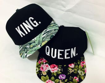 Custom Floral Print Block King and Queen Snapback Custom Colors Multicolor Snap Back