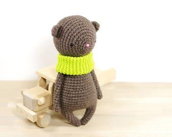 Crocheted Teddy Bear - Amigurumi teddy bear with knitted cowl