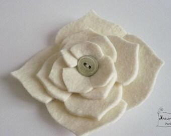 very large hydrangea flower hair clip made of felt ecru