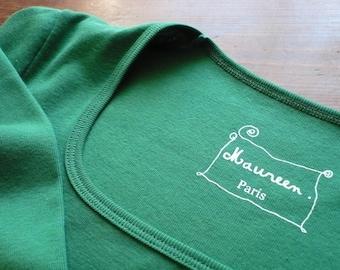 Green meadow shirt plain neckline dancer 100% cotton
