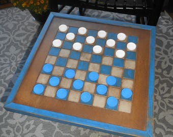 Wood Checkerboard- Handmade-Blue and White Wood Checkerboard-Checkerboard Game-Checkerboard Wall Art-Checkered Game Board