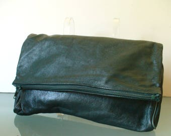 Vintage Made In Italy Avantique Emerald Green Foldover Leather Clutch Bag