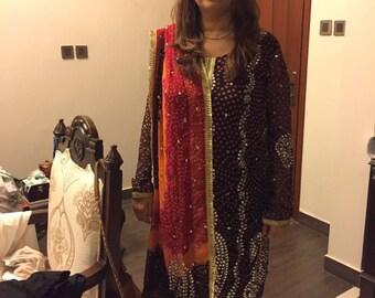 Ready to wear chiffon and kamdaani outfits, unstitched fabric, shalwar kameez, indian/bengali/pakistani clothes, ethnic clothes