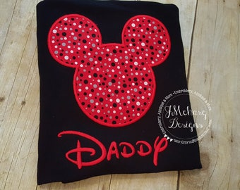 Boy Mouse Custom embroidered Disney Inspired Vacation Shirts for the Family! 763 red grey dot