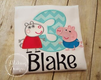 Peppa Pig George & Suzy Sheep Birthday Custom Tee Shirt - Customizable -  Infant to Youth 205