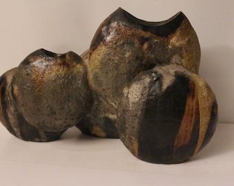 Helmut Schaffenäcker  3-hole Vase    Modern Eames  Retro Mid century West German Pottery Fat Lava