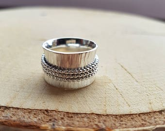 Spinner ring, Sterling Silver Ring, Band Ring, Silver Spinner Ring, Spinning Ring, Meditation Ring, Fidget Ring, Worry Ring, Thumb Ring