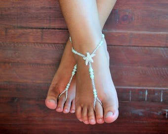 Aqua Barefoot Sandals Barefoot Jewelry Foot Jewelry Beach Wedding Toddler Foot Jewely Bridal Jewelry Barefoot Sandles