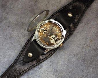 15% off Steampunk watch / Custom watch / Skeleton watch, leather  watch, unisex watch