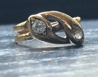 Victorian gold and mine cut diamond double snake ring