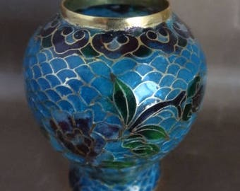 Beautiful Miniature Decorative Glass Vase, Blue & Gold Trim, Leaded Glass Look