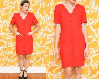 Vintage 80s RED power dress // ladies size 10 LINEN button down dress // Ann Tjian for Kenar fitted dress with pockets