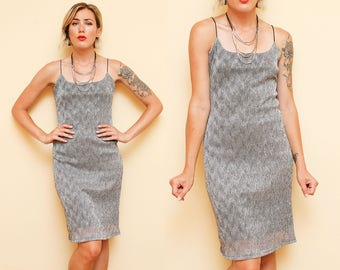 Silver Metallic Dress // 90s Spaghetti Strap Dress // Shiny Thin Strappy Cocktail Dress Size Small