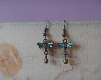 blue and bronze dragonfly earrings, ecofriendly dragonfly dangle earrings
