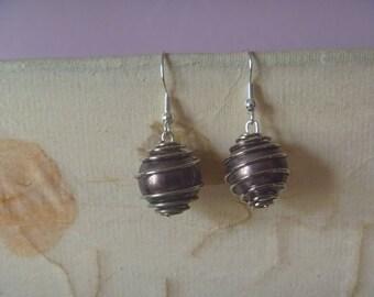 silver tone wire wrapped dangle earrrings, ecofriendly drop earrings