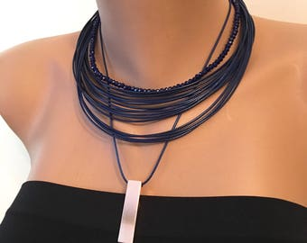 Dark Blue Multi Strand Leather Necklace, Stylish Necklace, Leather Cord Crystal, Black Crystal Necklace, Layared Necklace, Gift for Her, Val