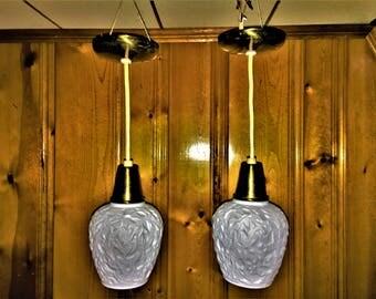SET of 2 matched PENDANT LIGHTS by Virden Lighting 1960s mid century modern